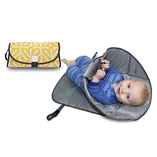 Baby Pronto Portable Changing Station, Foldable Baby Diaper Changing Pad with Head Cushion,Lightweight Travel Diaper Changer Mat with Pockets Stroller Strap, Carry Handle(37192cm,Light ()