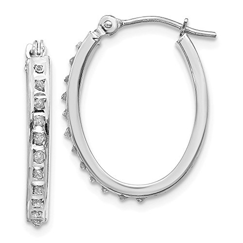14k White Gold Diamond Fascination Oval Hinged Hoop Earrings Ear Hoops Set Fine Jewelry Gifts For Women For Her