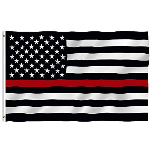 - Oniche Thin Red Line Flag 3x5 Foot Black White and Red American Flag Honoring Firefighters Indoor Outdoor Vivid Color Flag with Brass Grommets(Thin Red line Flag)