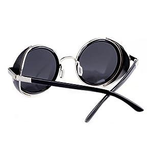LOMOL Retro Steampunk Rock Metal Frame UV Protection Round Sunglasses For Women&Men(C1)