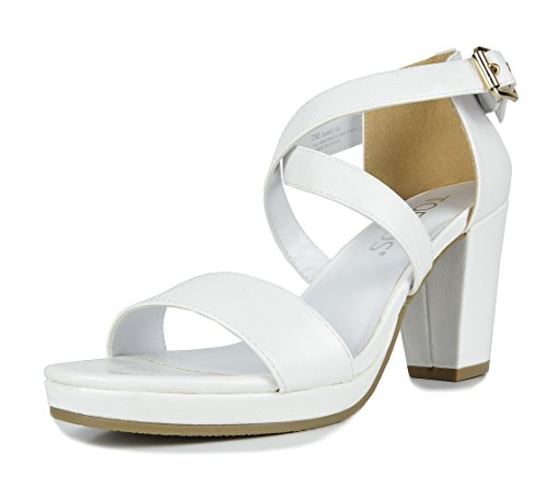TOETOS DIANE-03 New Women's Cross Strap Open Toes Mid Chunky Heels Platform Dress Sandals White Size 7.5