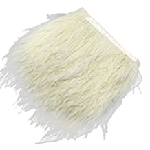 MagiDeal Ostrich Feather Dyed Fringe 1 Yard Trim for Clothing/Bag/Hats - Beige, One Size