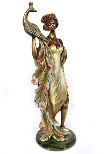 YIHAIXINGWEI Classical Peacock Goddess Figurine Decoratice Statue Home Decor Bronze Finish Collectible Art Piece
