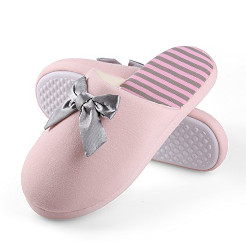 Aerusi Fleece Women's Slippers Microfiber Striped and Pink CCgrd5Tn