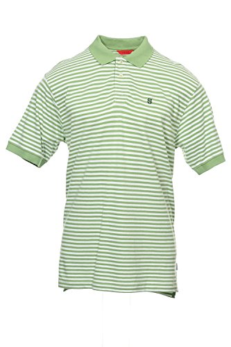 Split Striped Polo Shirt - IZOD Green Horizontal Striped Polo Shirt Golf, Size XLarge