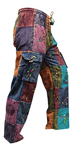 - Shopoholic Fashion Mens Thin Patchwork Hippy Summer Trouser (3XL)