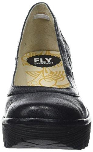 Fly London Womens Yano Tacco A Zeppa In Pelle Lavoro Da Ufficio Mousse Scarpe Nere Nere