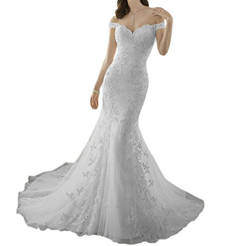 Trumpet Sweep - Westcorler Sweetheart Mermaid Wedding Dresses Lace Applique Sweep Train Bridal Gown (us10, White)