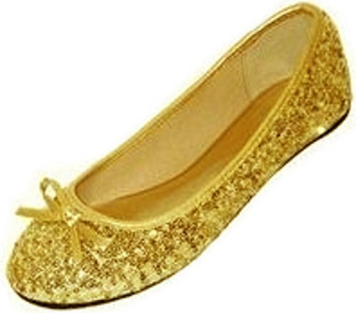 New Womens Sequins Ballerina Ballet Flats Shoes 4 Colors Available (7/8, Gold Sequins 2001)