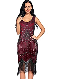 Women's Vintage 1920s Sequin Beaded Tassels Hem Flapper...