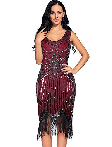 Women's Vintage 1924s Fringed Gatsby Sequin Beaded Tassels Hem Flapper Dress (M, Burgundy) (Hand Beaded Formal Dress)