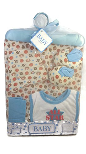 Baby Boy Infant Shower Layette Gift Set-Sports, Football, Baseball-8 pieces-blanket, Bib, Hat, Booties, Washcloth, Satin Hanger, Gift box, Blank card