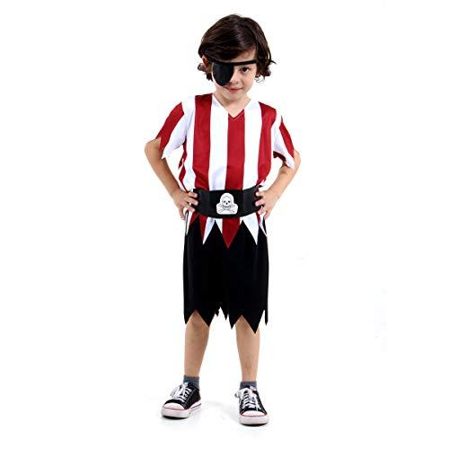 Fantasia Pirata Infantil 923901-G, Vermelho/Preto/Branco, Sulamericana Fantasias