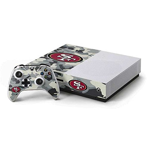 (Skinit NFL San Francisco 49ers Xbox One S Console and Controller Bundle Skin - San Francisco 49ers Camo Design - Ultra Thin, Lightweight Vinyl Decal Protection)