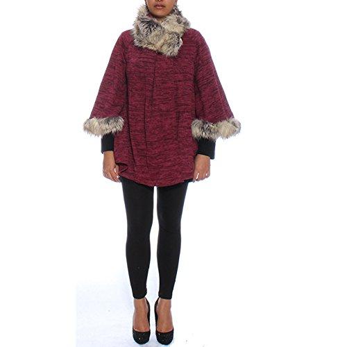 Candy Clothing - Abrigo - capa - para mujer rojo (Maroon)