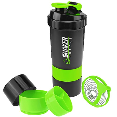 VIGIND 22 OZ Protein Shaker Bottle with 3-Layer Twist and Lock Storage, 100% BPA-Free Leak Proof Fitness Sports Nutrition Supplements Non-Slip Mix Shake Bottle - Drink Sports Shaker Bottle