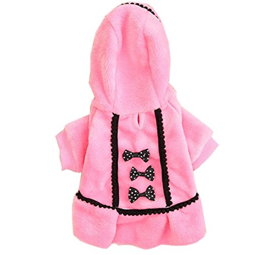(Small Dog Girl Clothes Wakeu Soft Warm Bowknot Polar Fleece Winter Dress Costume Clothing for Dog Female (XXS, Pink))