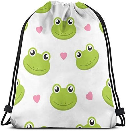 かわいいカエル軽量巾着バッグスポーツジム袋バッグバックパック36 x 43 cm