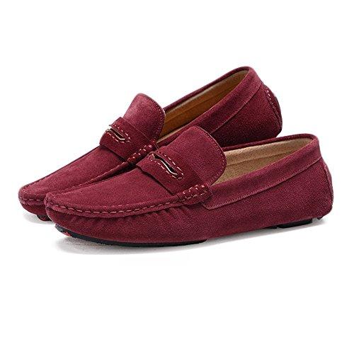 Casuales Goma Suela Piel shoes o marrón Suave de 39 5 Eventos Fiestas Formales Incluso Granate auténtica Jiuyue para gqAw87Wfw