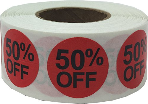 InStockLabels 50% Percent Off Stickers 3/4 Inch 500 Adhesive Stickers, Red With Black Lettering