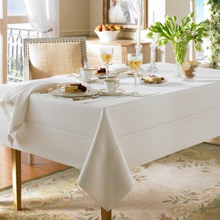 "Waterford Addison Linen Natural Table Cloth 70"" X 104"" Ob..."