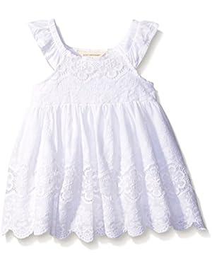 Girls' Organic Crochet Flutter Sleeve Dress