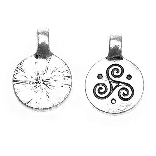(Monrocco 50 Pcs Antique Silver Triple Spiral Charm Celtic Triskele Charms Pendant for Bracelets Jewelry)