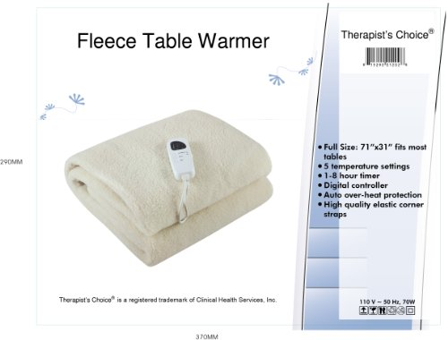Therapist's Choice® Deluxe Fleece Massage Table Warmer, 12 Foot Power Cord. For Use with Massage Tables Only, Do Not Use as a Bed Blanket Warmer - incensecentral.us