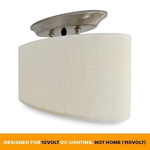 Dream Lighting 12Volt DC Fabric Light Fixture with White Elliptical Oval Ceiling Light Shade with On/Off Switch - LED Decor Lamp - 0.49A, 6W by Dream Lighting (Image #1)