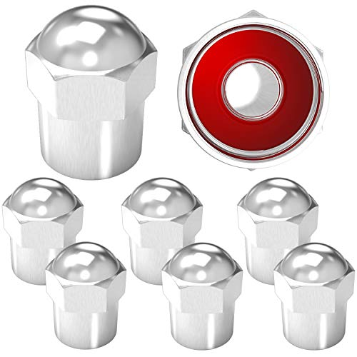 Brass Rubber Seal Tire Valve Stem Caps, Dust Proof Covers Universal fit for Cars, SUVs, Bike and Bicycle, Trucks, Motorcycles (Round top Silver (8 Pack))