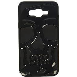Asmyna Cell Phone Case for Samsung Galaxy J7 - Solid Black/Black Skullcap