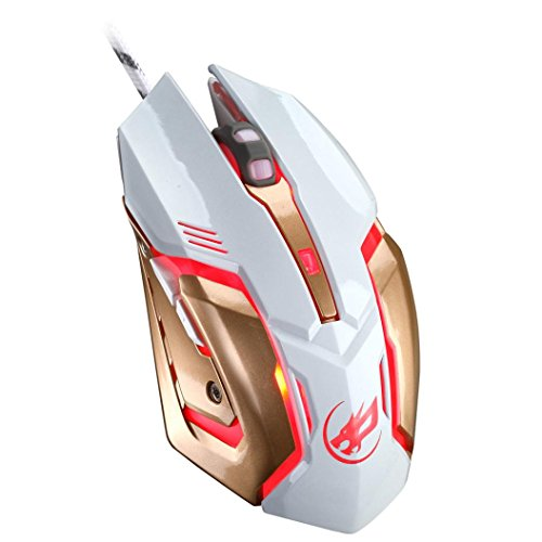 Cywulin Wired Gaming Mouse, 2400DPI 4 Adjustable DPI Levels,