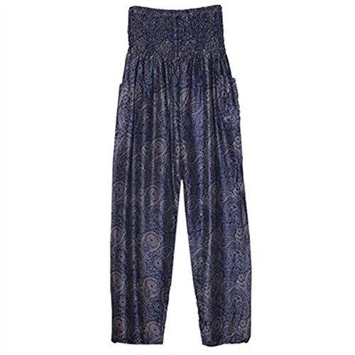 World Buyers Dual Color Paisley Print Harem Pants, Straight Leg with Double Pockets and Elastic Band Waist (Navy/Gray) (Pant Paisley Print)
