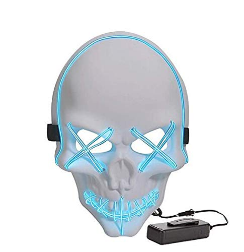 Great LED Light-Up Skull Mask for Halloween, Cosplay, Raves, etc. (White and Blue)