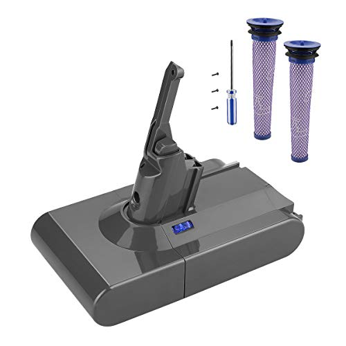 Powilling 21.6V 3.5Ah Lithium-Ion Battery Replacements for Dyson V8 Cordless Handheld Vacuum Dyson V8 Absolute(with Dyson Vacuum Parts, HEPA Post&Pre-Filter V8 Kit, Dyson V8 Animal Replace Filter Kit)