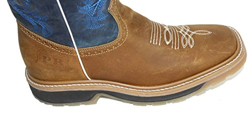 Genuine cowboy Cowhide Men PLAIN boots rodeo square Brown Boots Leather toe Blue western FqdpEWxwpU