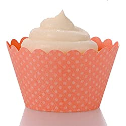 Dress My Cupcake Standard Coral Cupcake Wrappers, Set of 12
