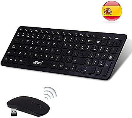 YZPUSI Wireless Inalámbricos Español Teclado y Ratón, Ultra Slim Wireless QWERTY Español Teclado per Windows PC, Portátil silencioso Raton: Amazon.es: Electrónica