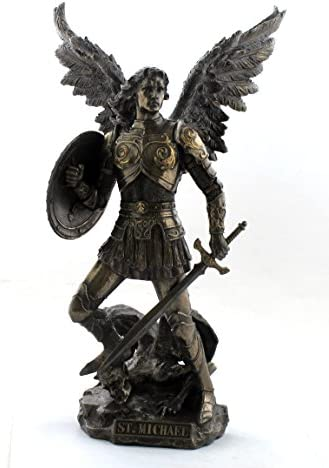 Archangel St. Michael Standing on Demon with Sword Shield Sculpture