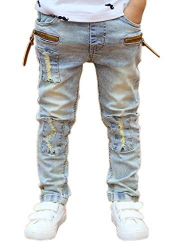 - Kihatwin Big Boy's Casual Skinny Ripped Jeans Slim Fit Distressed Zipper Pants with Holes (14 Slim, Washed Blue)