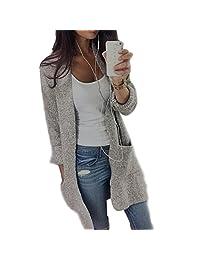 Susenstone Womens Lady Casual Knit Sleeve Sweater Coat Cardigan Jacket