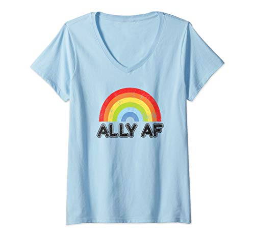 - Womens Ally AF Gay Pride LGBT Flag Gift V-Neck T-Shirt