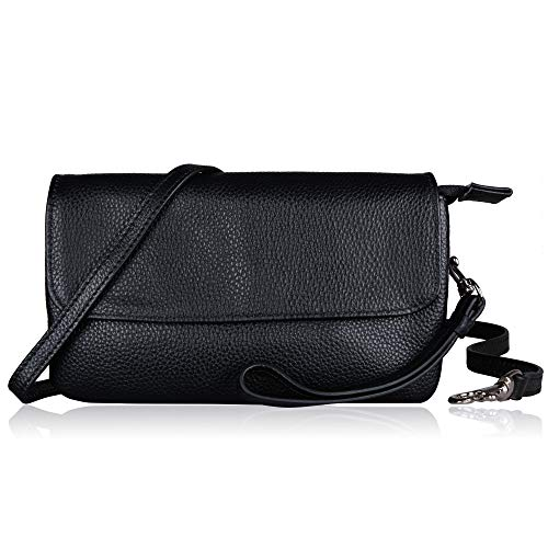 - Befen Womens Leather Wristlet Clutch Crossbody Cell Phone Wallet, Mini Cross Body Bag with Shoulder Strap/Wrist Strap/Card Slots for iPhone 6S Plus/Samsung Note 5 – Black