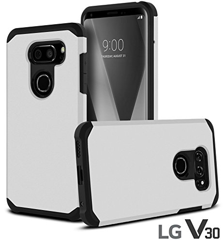 CellJoy Case Compatible with LG V30, LG V30 Plus, LG V30+ [Liquid Armor] 2017 Release Slim Armor Dual Layer Protective [[Shockproof]] Hybrid BumperImpact Resistant Thin Hard Shell Cover (Silver) Absolute Silver Matte