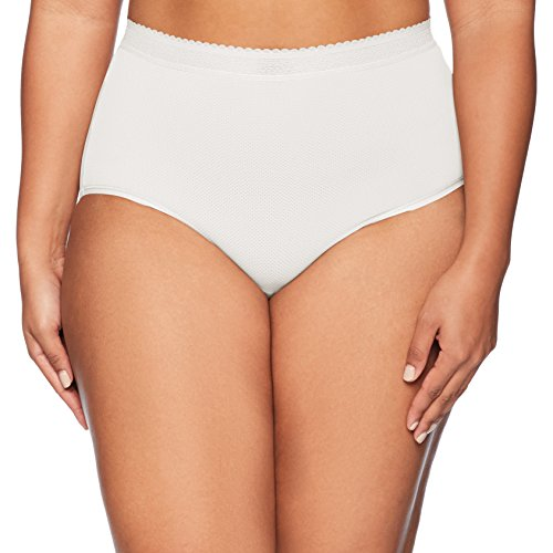 Warner's Women's Plus Size Breathe Freely Brief Panty, White, XL