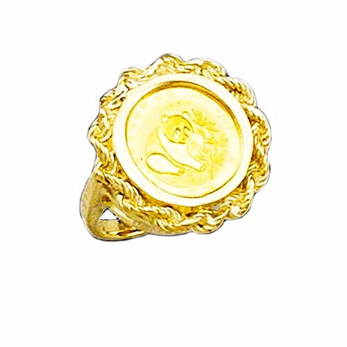 24 Kt Chinese Panda Bear Coin Set In 14 Kt Solid Yellow Gold Ladies Coin Ring (Random Year Coin -