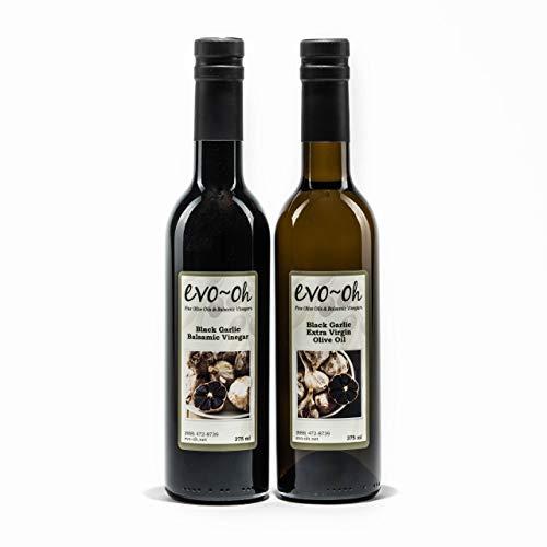 Black Garlic Extra Virgin Olive Oil and Black Garlic Dark Balsamic Vinegar | 375ml Bottles | 2-Pack Gift Set