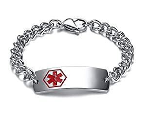 XUANPAI 15mm Free Engraving Stainless Steel Medical Alert ID Identification Curb Link Chain Bracelet