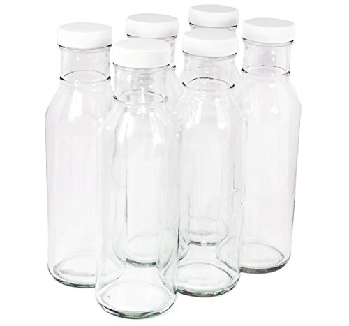 Clear Glass Beverage/Sauce Bottles, 12 Oz - Pack of 6 (Dressing Bottle Salad)