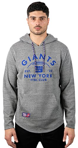 Icer Brands NFL New York Giants Men's Fleece Hoodie Pullover Sweatshirt Vintage Logo, Small, Gray